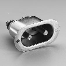 High Temperature European Plug-DIN 49490 round pin heater appliance inlet connector with porcelain terminal base and metal shell. Flange mount design. 2 pole 3 wire. Rated 10 ampere 250 volt DC / 16 ampere 250 volt AC.